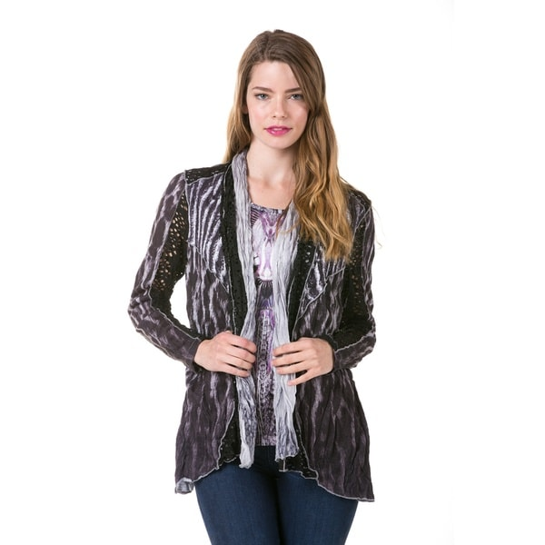High Secret Women's Multi-fabric Two-in-one Long Sleeve Cardigan