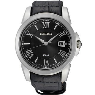 Seiko Men's SNE397 Stainless Steel Le Grand Sport Black Dial Solar Watch with a Sapphire Crystal and 10 Month Power Reserve