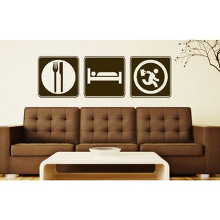 Eat Sleep Run to Work Wall Art Sticker Decal Brown