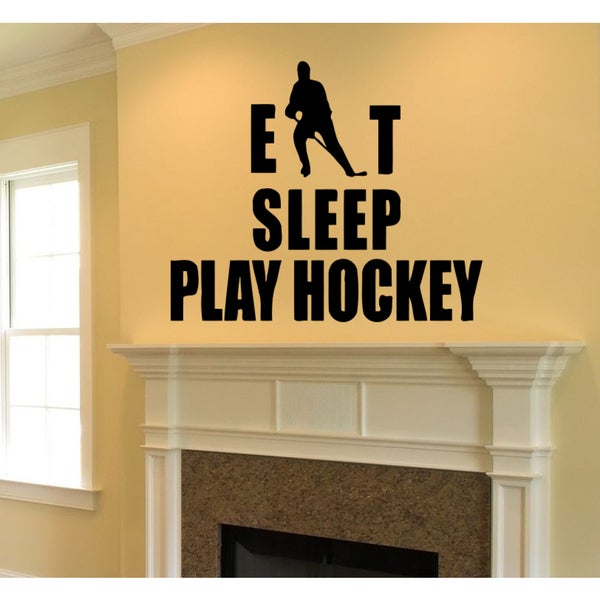 Eat Sleep Hockey player Wall Art Sticker Decal