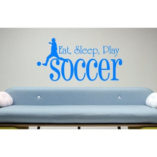 Eat Sleep Play Soccer Wall Art Sticker Decal Blue