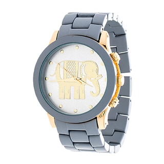 Xtreme NYC Women's Gold Case Royal Elephant Design Print Dial / Grey Strap Watch