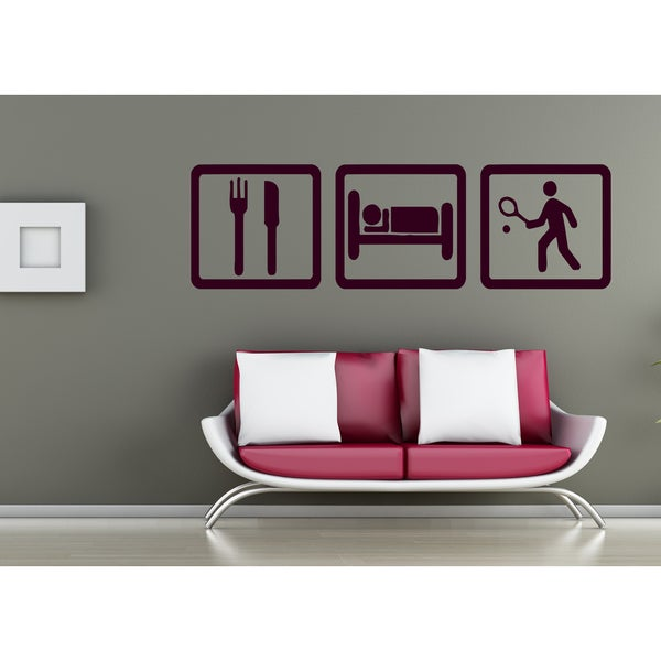 Eat Sleep Game Tennis Wall Art Sticker Decal Brown