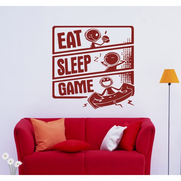 Eat Sleep Game Wall Art Sticker Decal Red