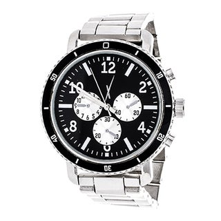Xtreme Men's Jumbo Multi-Function Silver Case and Black Dial / Silver Strap Watch