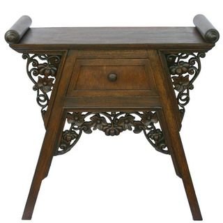 EXP Handmade Carved Teak Wood and Rattan End Table / Nightstand (Thailand)