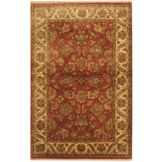 Herat Oriental Indo Hand-knotted Kashan Rust/ Ivory Wool Rug (4'1 x 6'3)