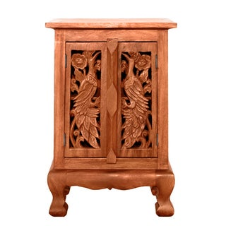 EXP Handmade Exotic Peacocks Storage Cabinet / Nightstand (Thailand)