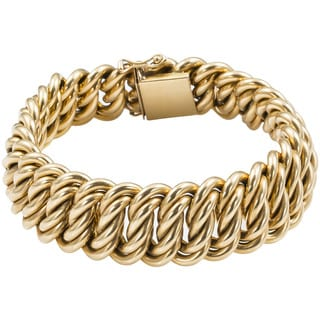 Pre-owned 18k Yellow Gold Antique Heavy Estate French Bracelet