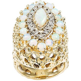 14k Yellow Gold 2/5ct TDW Opal Estate Dome Ring Size 5(H-I, SI1-SI2)