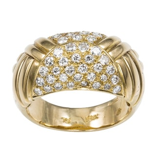 18k Yellow Gold 4/5ct TDW Diamond Cluster Carved top Estate Ring Size 6.25 (G-H, VS1-VS2)