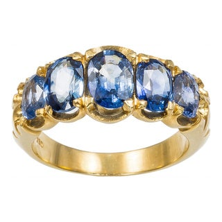 18k Yellow Gold Oval Sapphires 5-stone Estate Ring (Size 6.5)
