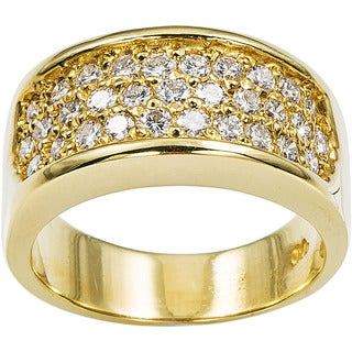 18k Yellow Gold 2/3ct TDW Diamond Clustered Pave Estate Band Ring Size 6.75 (G-H, SI1-SI2)