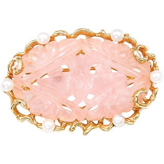 14k Yellow Gold Carved Rose Quartz and Pearls Estate Brooch