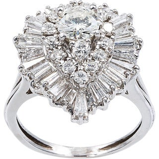 Pre-owned Platinum 3ct TDW Clustered Diamonds Estate Ballerina Ring (H-I, VS1-VS2)