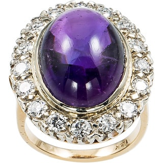14k Yellow Gold 1 1/10ct TDW Diamond and Amethyst Cocktail Estate Ring (H-I, SI1-SI2)