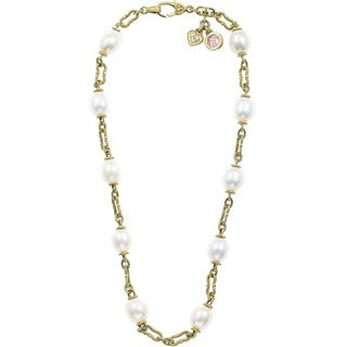 Judith Ripka 18k Gold 1/10ct TDW Chain and Pearl Heart Estate Necklace (H-I, SI1-SI2)