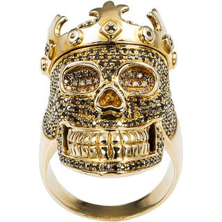 14k Yellow Gold 3ct TDW Black and White Diamond Crowned Skull Ring Size 10.5 (H-I, I2-I3)