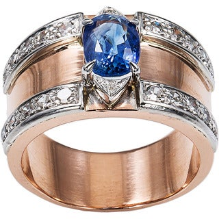 14k Pink Gold 1/2ct TDW Diamonds and Sapphire Estate Wide Band Ring Size 7 (H-I, SI1-SI2)