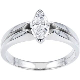 14k White Gold 1/3ct TDW Double Band Engagement Ring (E-F, VS1-VS2)