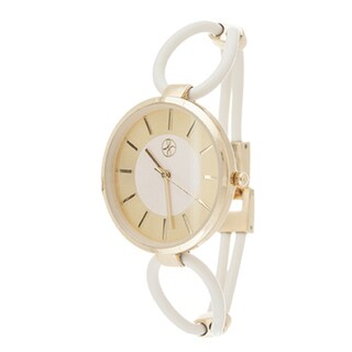 Fortune NYC Ladies Goldtone Case with White Rubber Strap Watch