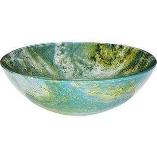 Gourmand Blues and Greens Tempered Glass Vessel Basin with Polished Interior and Textured Exterior