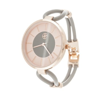 Slim Fortune NYC Ladies Rosetone Case with Grey Rubber Strap Watch