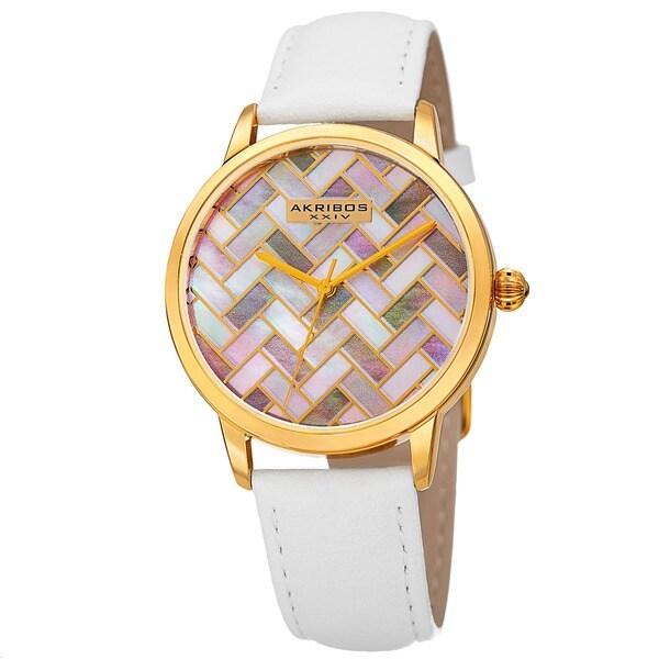 Akribos XXIV Women's Leather Strap Watch