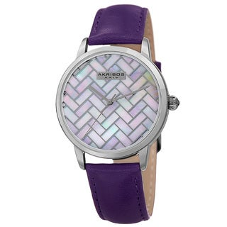 Akribos XXIV Women's Purple Leather Simplistic Fashion Watch