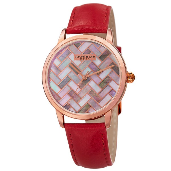 Akribos XXIV Women's Japanese Quartz Leather Strap Watch with GIFT BOX - Red 18096861