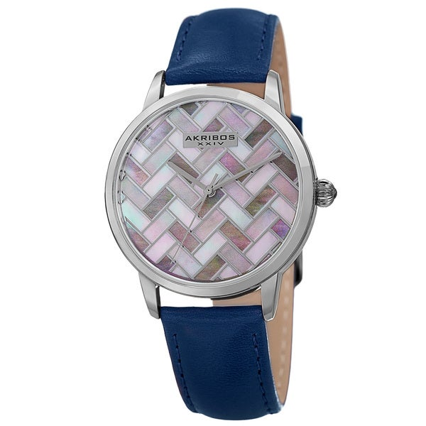 Akribos XXIV Women's Japanese Quartz Leather Strap Watch with GIFT BOX - Blue 18096864
