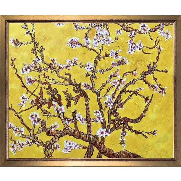 La Pastiche Original 'Branches of an Almond Tree in Blossom, Citrine Yellow' Hand Painted Framed Canvas Art 18097136