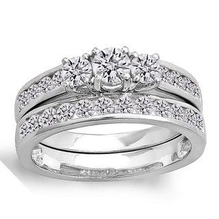 14k White Gold 1 1/4ct TDW Diamond Bridal 3-stone Engagement Ring (H-I, I1-I2)