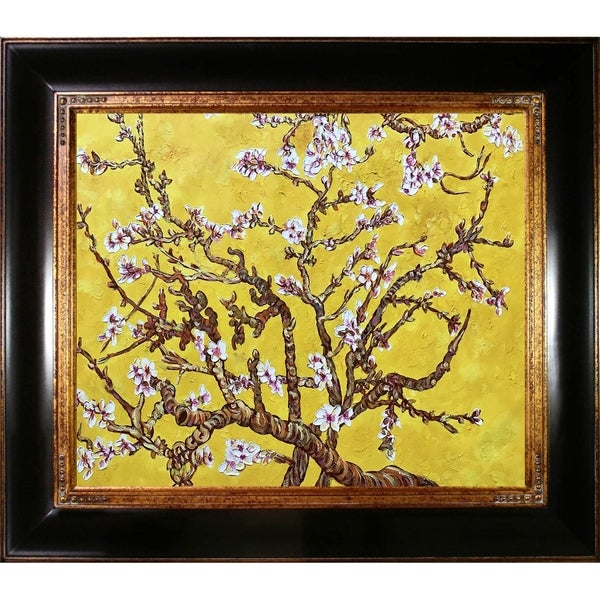 La Pastiche Original 'Branches of an Almond Tree in Blossom, Citrine Yellow' Hand Painted Framed Canvas Art 18097355
