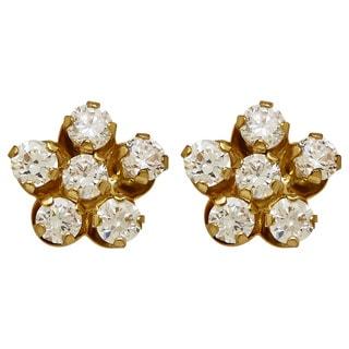 14k Yellow Gold Children's Cubic Zirconia Flower Stud Earrings