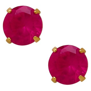 14k Yellow Gold Children's Created Ruby 4mm Stud Earrings