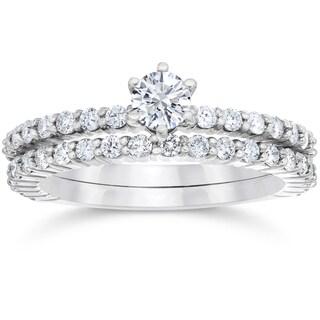14k White Gold 1ct TDW Diamond Engagement Wedding Ring Set (I-J,I2-I3)