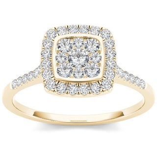 De Couer 10k Yellow Gold 1/2ct TDW Diamond Cluster Engagement Ring (H-I, I2)