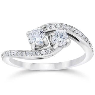10k White Gold 1/2ct TDW 2-stone Forever Us Diamond Engagement Ring (I-J,I2-I3)