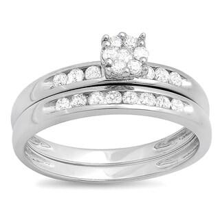 10k White Gold 1/2ct TDW Diamond Bridal Cluster Engagement Wedding Set (H-I, I1-I2)