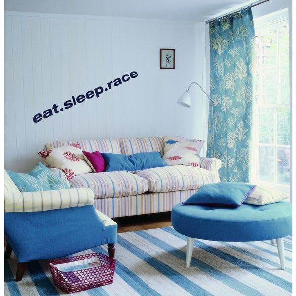 Eat Sleep Race Wall Art Sticker Decal Blue