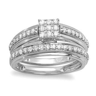 10k White Gold 5/8ct TDW Diamond Bridal Engagement Ring Matching Wedding Band Set (H-I, I1-I2)