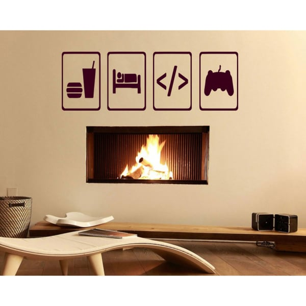 Eat Sleep Joysticks Game Wall Art Sticker Decal Red