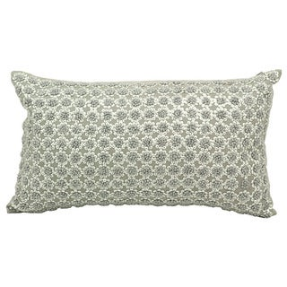 Joseph Abboud French Knot Flowers Grey Throw Pillow (12-inch x 20-inch) by Nourison