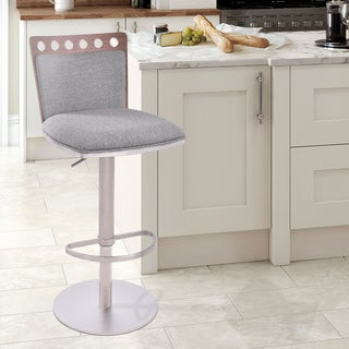 Armen Living Brooke Adjustable Swivel Barstool in Brushed Steel finish with Grey Fabric upholstery and Walnut Back
