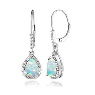 Glitzy Rocks Sterling Silver Created Opal and Diamond Accent Teardrop Leverback Earrings
