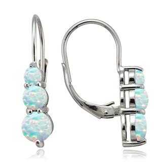 Glitzy Rocks Sterling Silver Created Opal Three Stone Drop Earrings