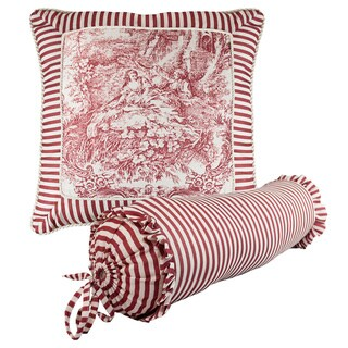 Sherry Kline Elizabethan Red Toile Print Combo Throw Pillow (Set of 2)