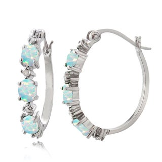 Glitzy Rocks Sterling Silver Created Opal and Diamond Accent Oval Hoop Earrings