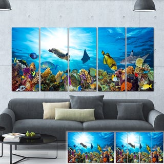 Designart 'Colorful Coral Reef with Fishes' Seascape Photo Canvas Print